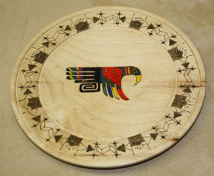 Platter with Burned and Colored Pattern