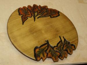 Platter with Carved & Wood-burned Leaves - George Walker